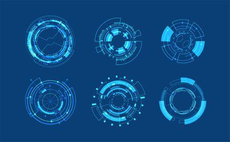 Abstract technology circle set design.Icon Editable Stroke