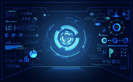 abstract futuristic hud interface hologram elements of digital on blue background.