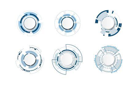 Abstract technology circle set design. 向量圖像