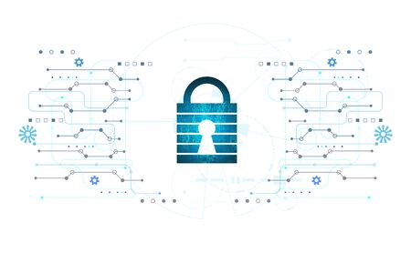 Abstract Cyber security with padlock blue circle technology Future cyber background.