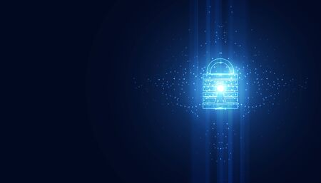 Abstract technology cyber security safe information privacy lock futuristic blue with binary digital data background. 向量圖像
