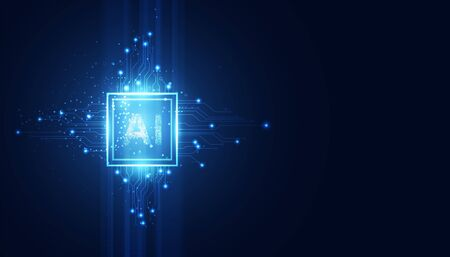 Abstract technology Ai computing concept working data of Artificial intelligence and futuristic digital for future on dark blue background.