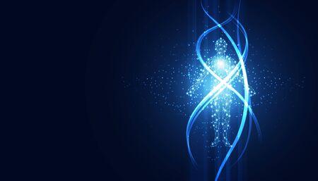 abstract technology futuristic concept of digital human body digital ai future design on hi tech background.