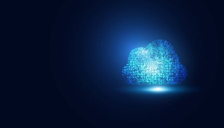 Abstract cloud technology on dark blue with dots future Concept big data modern internet business technology background vector illustration.