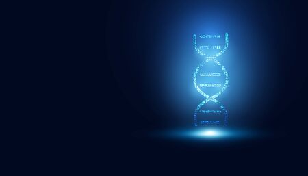 abstract technology science concept DNA futuristic on hi tech blue background. 向量圖像