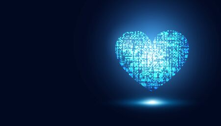 abstract medical health care Blue heart virtual sci fi artificial intelligence innovative background. 向量圖像
