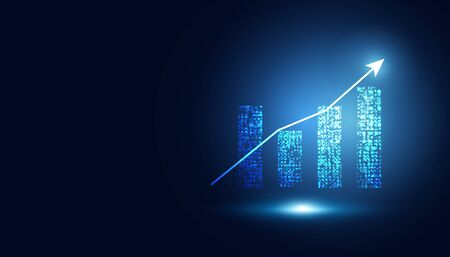 abstract graph chart of stock financial on dark blue background. 版權商用圖片 - 143291412