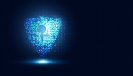 Abstract technology cyber security safe information privacy shield futuristic blue with binary digital data background.