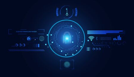 Abstract Cyber security with padlock blue hud interface icon and circle technology Future cyber background.