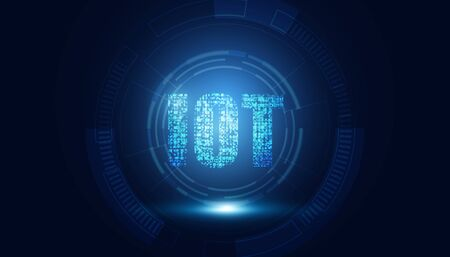 abstract technology Internet Of Things (IOT) concepts digital Computing on dark blue color background.