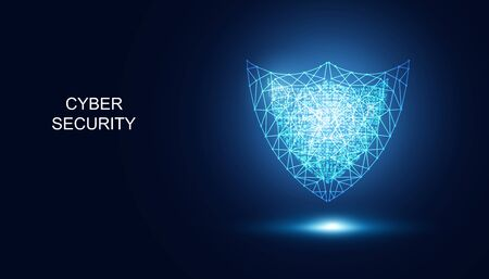 Abstract Cyber security with shield blue digital wireframe technology Future cyber background.  イラスト・ベクター素材
