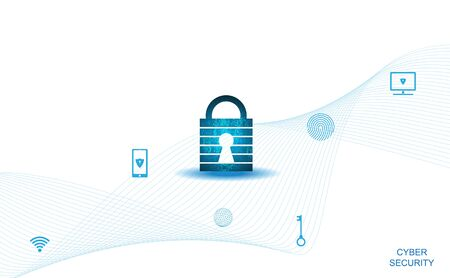 Abstract Cyber security with padlock blue on white and icon technology Future cyber background.  イラスト・ベクター素材