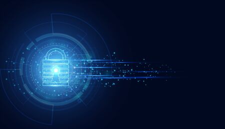 Abstract Cyber security with padlock blue wave speed technology Future cyber background.