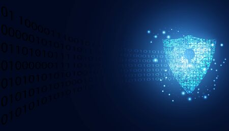 Abstract Cyber security with shield blue circle technology Future cyber background.