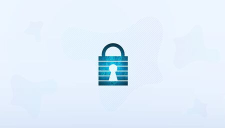 Abstract Cyber security with padlock blue technology Future cyber background.  イラスト・ベクター素材