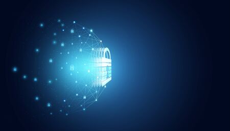 Abstract cyber security privacy information network concept padlock protection digital network personal data cyber data or information privacy idea internet link on hi tech blue future background.