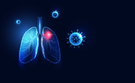 Abstract Human lungs anatomy wireframe dot and lines triangles point with virus Covid-19,Coronavirus,Sars disease,SARS-CoV-2 concept viruses in the air, droplets from the infected person.Illustration