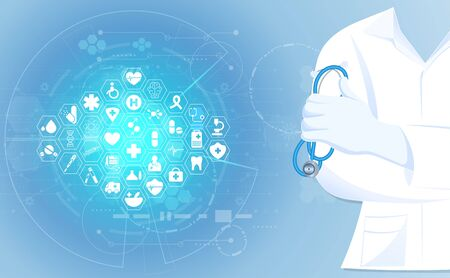 abstract health medical science consist doctor digital futuristic virtual hologram treatment medicine and icon 向量圖像