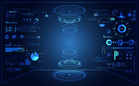 abstract technology ui futuristic concept hud interface hologram elements of digital data chart on hi tech future design background 向量圖像