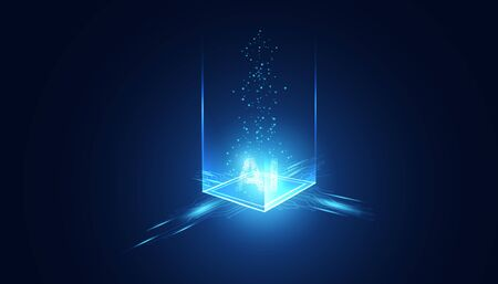 Abstract technology Ai sci-fi artificial Intelligence concept machine deep learning futuristic digital for future on dark blue background.