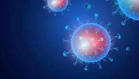 3d Abstract Coronavirus (COVID-19) Virus infection or disease.  Novel Coronavirus (2019-nCoV) medical Sign & Symbol.  Blue on blue background