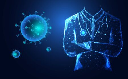 3d Abstract Doctor and Virus COVID-19 infection.  Medical  Coronavirus disease or Novel coronavirus (2019-nCoV).  Sign & Symbol concept blue on blue background