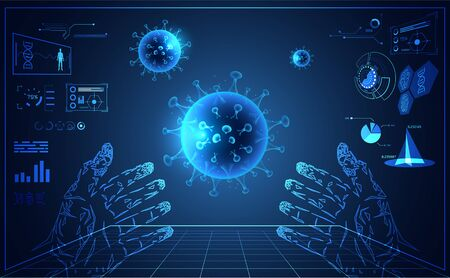 Abstract interface laboratory for healthcare medical medicine and mesh Virus infection Covid-19,Coronavirus,Sars disease,SARS-CoV-2 disease concept research information for treat on blue background.