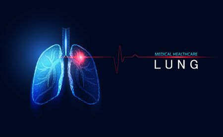 Abstract futuristic human lungs breathing wireframe anatomy blue digital medical point connecting network concept analysis data disease of medical health care technology on blue background.