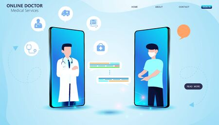 Abstract Online Doctor & Medical Services concept Providing online consultation and medical advice to users. 向量圖像