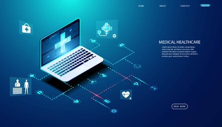 Abstract laptop health and icon health concept Providing online consultation and medical advice to users.