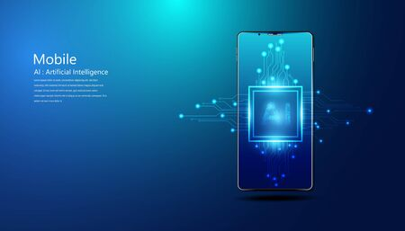 Abstract technology Ai computing and smartphone concept working data of Artificial intelligence and futuristic digital for future on dark blue background. 版權商用圖片 - 148028752