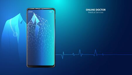 Abstract Online Doctor & Medical Services concept The current health care industry that has access to the internet And the online world Helping people gain access to treatment. Online.