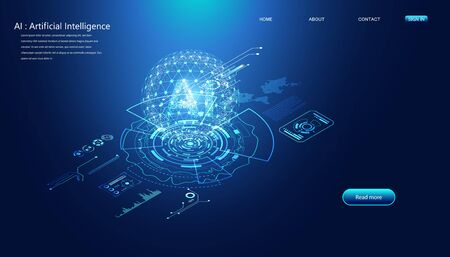 Abstract technology Ai interface computing concept working data of Artificial intelligence and futuristic digital for future on dark blue background.