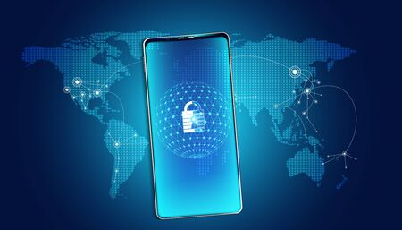 abstract padlock cyber security with smartphone and map world concept Protection of information in the online world, cyber personal information, internet, preventing internet theft