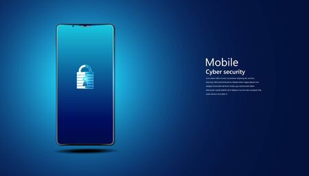 abstract padlock cyber security with smartphone concept Protection of information in the online world, cyber personal information, internet, preventing internet theft
