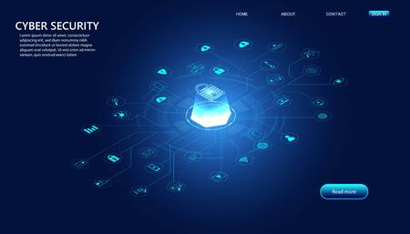 abstract padlock cyber security with icon concept Protection of information in the online world, cyber personal information, internet, preventing internet theft