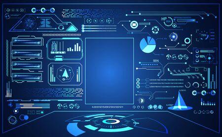 abstract technology ui futuristic concept hud interface hologram elements of digital data chart, communication, computing on hi tech future design background