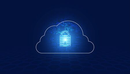 abstract padlock cyber security and cloud binary digital concept Protection of information in the online world, cyber personal information, internet, preventing internet theft Illustration