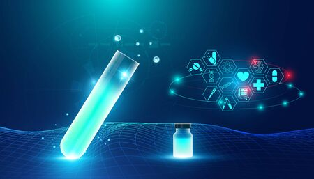 Abstract health medical science consist Glass tube and icons health concept The invention of medicines by medical innovations And science.