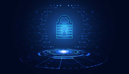 abstract padlock cyber security concept Protection of information in the online world, cyber personal information, internet, preventing internet theft