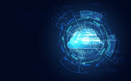 Abstract cloud technology with big data and interface concept Connection by collecting data in the cloud With large data storage systems on hi tech background. 版權商用圖片 - 148395113