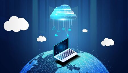 Abstract cloud technology with big data and world internet concept Connection by collecting data in the cloud With large data storage systems on hi tech background.