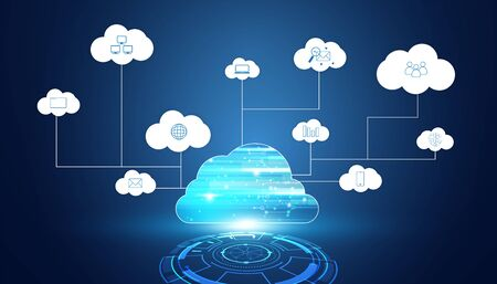 Abstract cloud technology with big data and icons concept Connection by collecting data in the cloud With large data storage systems on hi tech background.