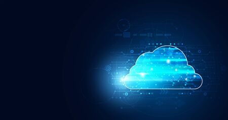 Abstract cloud technology with big data and interface concept Connection by collecting data in the cloud With large data storage systems on hi tech background.