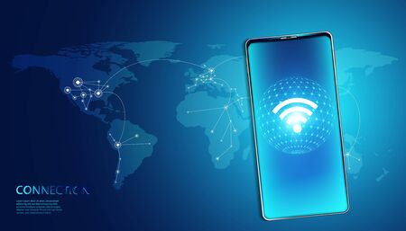 wireless internet technology on smartphone Concept background wifi communication connection and business with map network high speed innovation connection vector illustration. Illustration