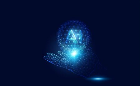 Abstract technology Ai computing on hand wireframe concept working data of Artificial intelligence and futuristic digital for future on dark blue background.