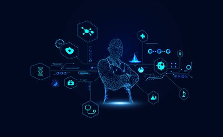 Abstract Doctor wireframe digital and hologram interface concept Medical data analysis In visual form Modern future,Medicine that uses artificial intelligence in processing And treatment of future.