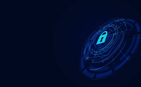 Abstract padlock network cyber security connection information personal data concept Protect data in the system From data theft,Protect personal information,Protecting large networks. Illustration