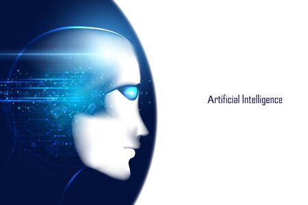 Abstract smart artificial intelligence digital futuristic technology face with brain wireframe blue concept ai humanoid head virtual neural network thinks,information,analysis,cybernetic mind,Big data