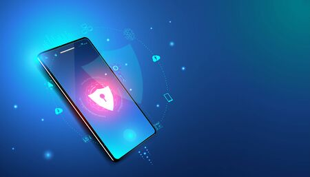 Abstract cyber security with phone and icons concept  Phone theft prevention By scanning the fingerprint And internet protection systems Data importing or exiting various devices.